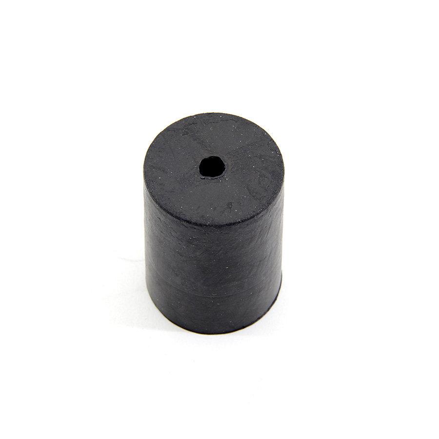 Černý pryžový válcový doraz s dírou pro šroub FLOXO - průměr 3 cm a výška 4 cm