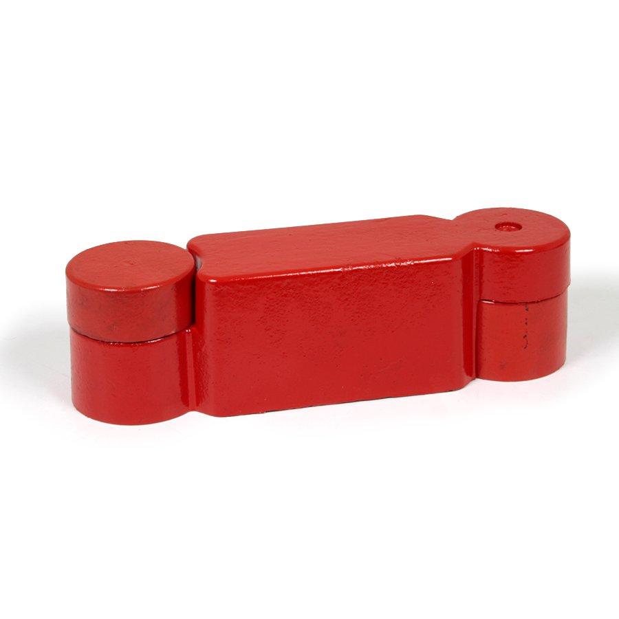 """Červená plastová koncovka pro silniční obrubníky """"samice"""" - délka 14,5 cm, šířka 14,5 cm a výška 10 cm"""
