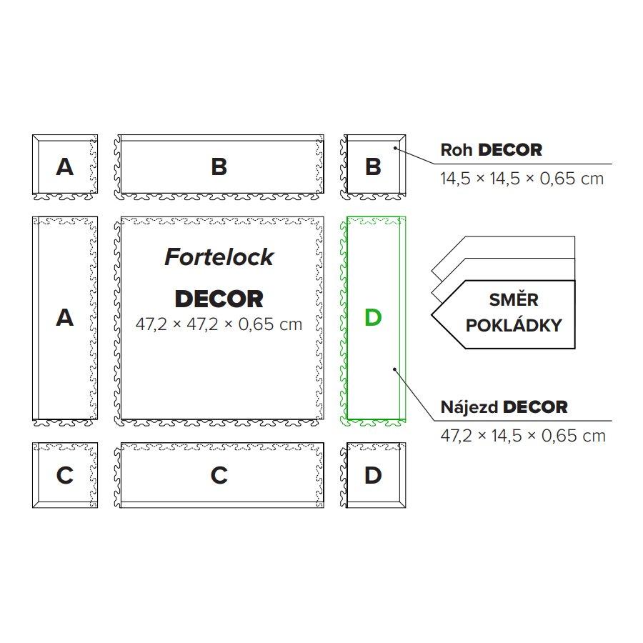 "Béžový PVC vinylový nájezd ""typ D"" Fortelock Decor Business - délka 47,2 cm, šířka 14,5 cm a výška 0,65 cm"