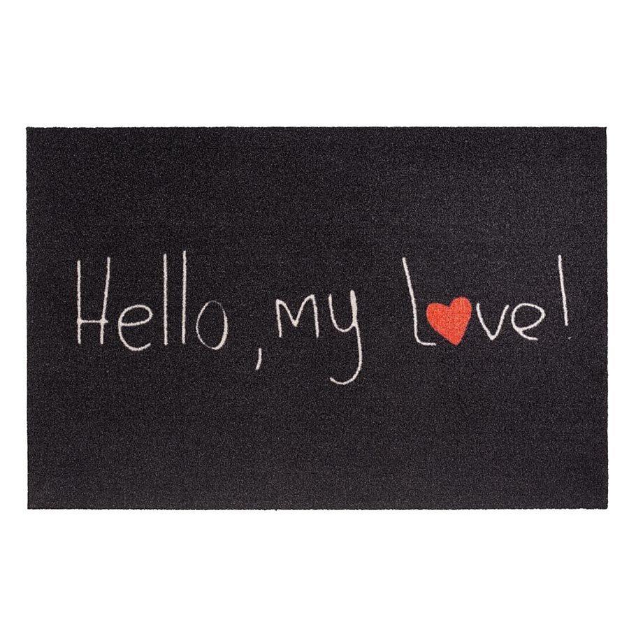 Vnitřní čistící vstupní rohož FLOMA Mondial Hello my love - délka 50 cm a šířka 75 cm