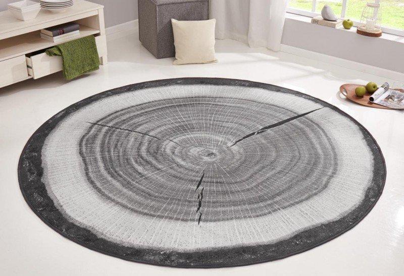 Šedý moderní kusový bytový kulatý koberec Bastia Special - průměr 200 cm