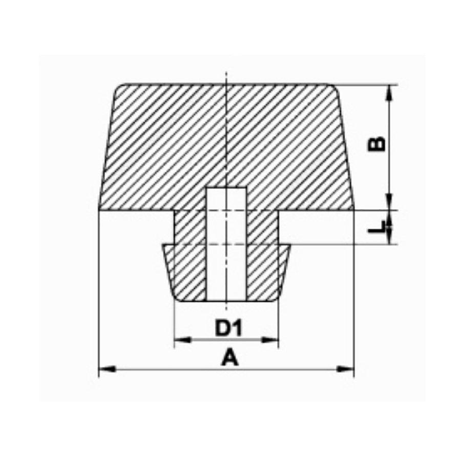 Pryžový doraz nástrčný do díry - průměr 1,5 cm, výška 0,8 cm a výška krku 0,2 cm