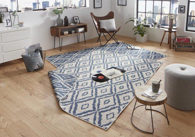 Modrý moderní oboustranný kusový koberec Twin-Wendeteppiche - délka 150 cm a šířka 80 cm