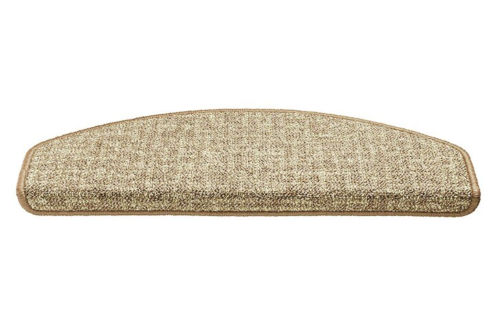 Béžový kobercový půlkruhový nášlap na schody Imola - délka 65 cm a šířka 25 cm