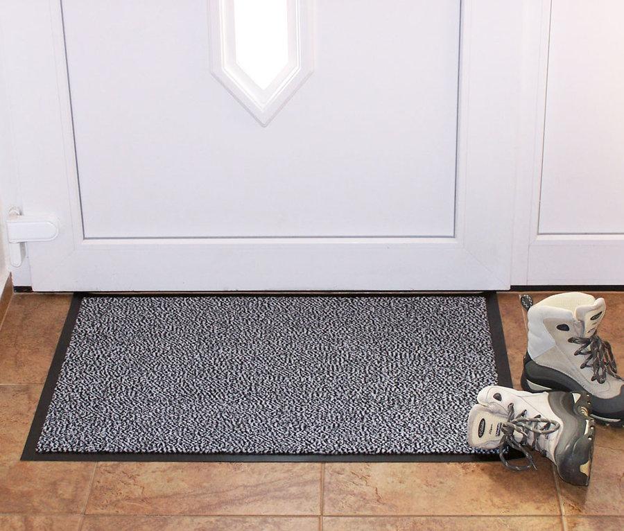 Šedá textilní vnitřní čistící vstupní rohož - délka 60 cm, šířka 80 cm a výška 0,7 cm