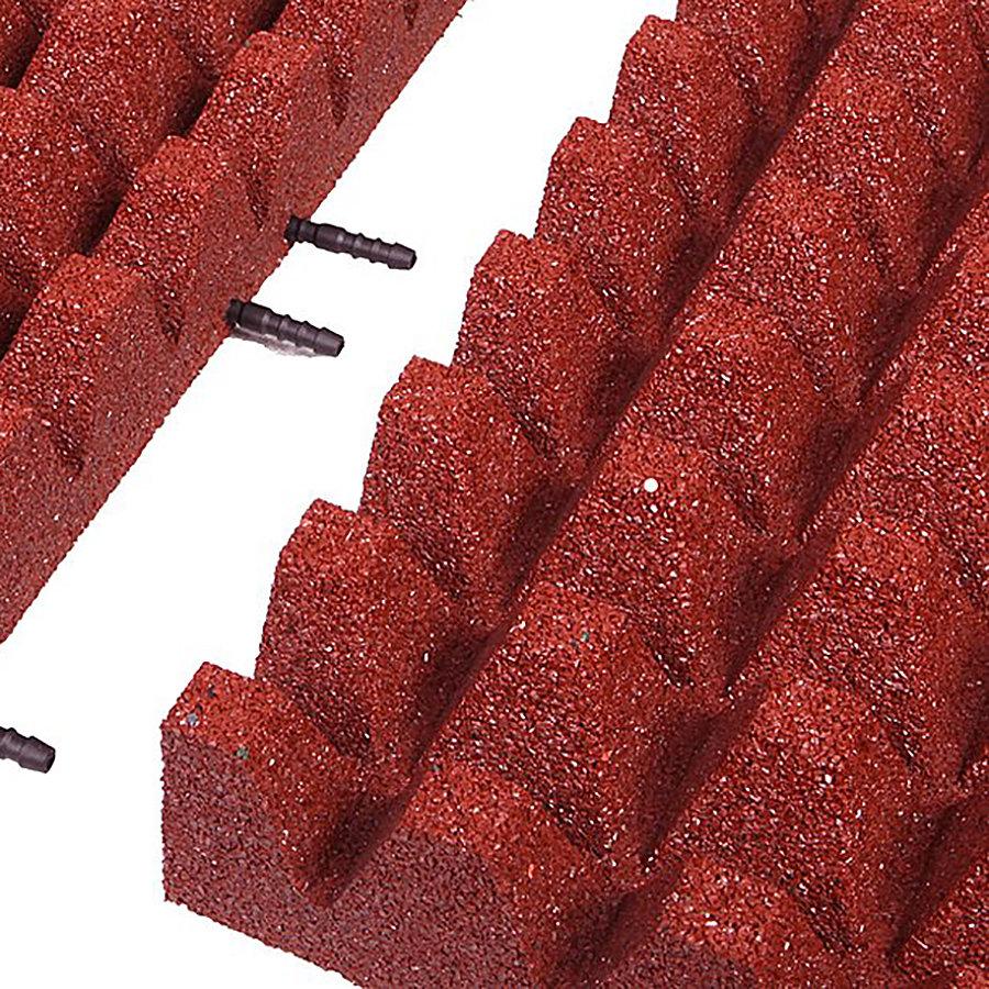 Červená gumová krajová dopadová dlaždice (V80/R50) FLOMA - délka 50 cm, šířka 25 cm a výška 8 cm