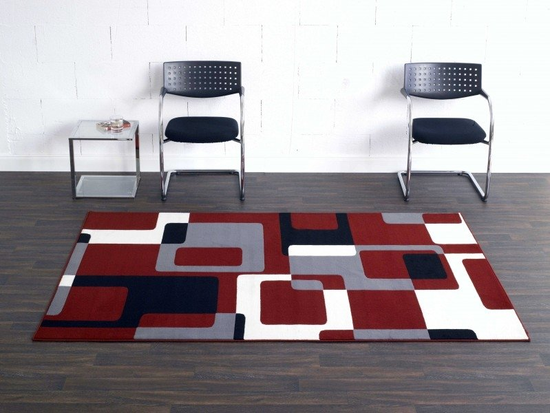 Červený kusový moderní koberec Hamla