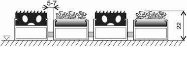 Textilní gumová hliníková vnitřní vstupní rohož FLOMA Alu Standard (Bfl-S1) - délka 1 cm, šířka 1 cm a výška 2,2 cm