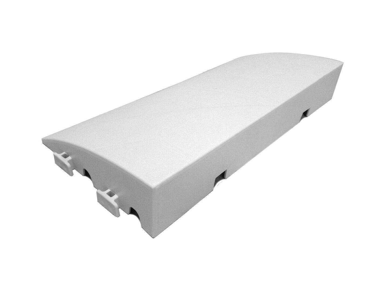 Bílý plastový nájezd pro terasovou dlažbu Linea Premium - délka 50 cm, šířka 25 cm a výška 8 cm