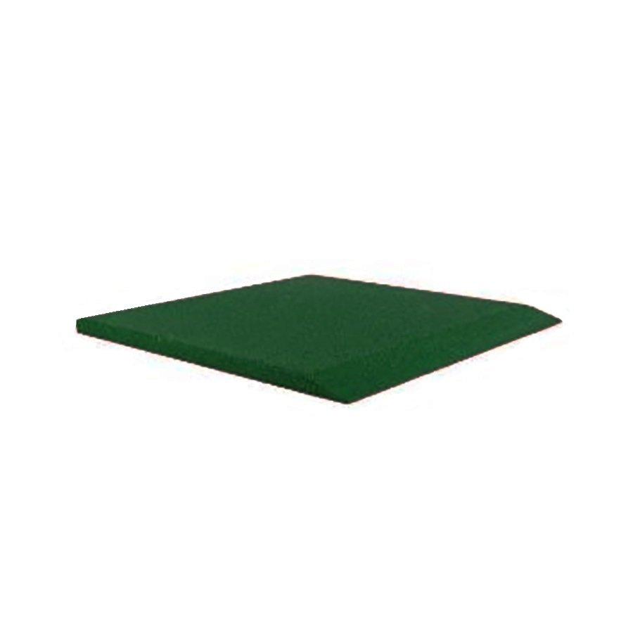 Zelená gumová krajová dopadová dlaždice (V40/R00) FLOMA - délka 50 cm, šířka 50 cm a výška 4 cm