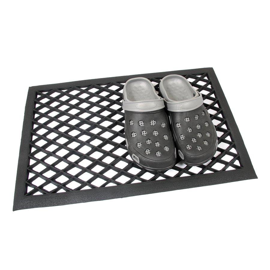 Černá gumová vstupní venkovní čistící rohož Simple, FLOMA - délka 40 cm, šířka 60 cm a výška 1 cm
