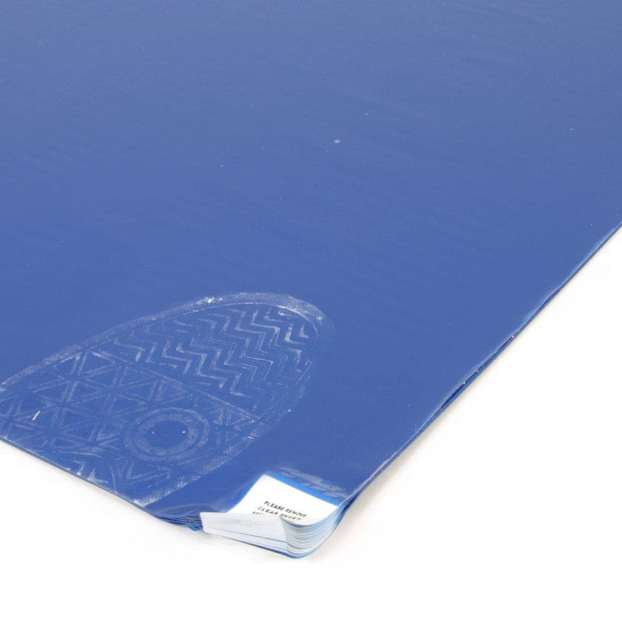 Modrá lepící dezinfekční hygienická rohož - délka 115 cm, šířka 90 cm a výška 0,2 cm