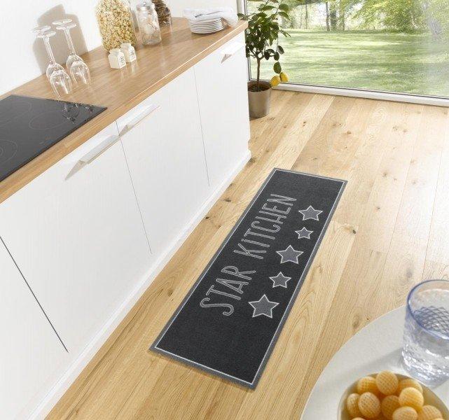 Černá moderní kusová kuchyňská bytová předložka Cook & Clean, 01 - délka 150 cm a šířka 50 cm