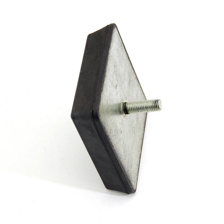 Černý pryžový doraz tvaru komolého jehlanu se šroubem FLOXO - délka 12 cm, šířka 12 cm a výška 3 cm