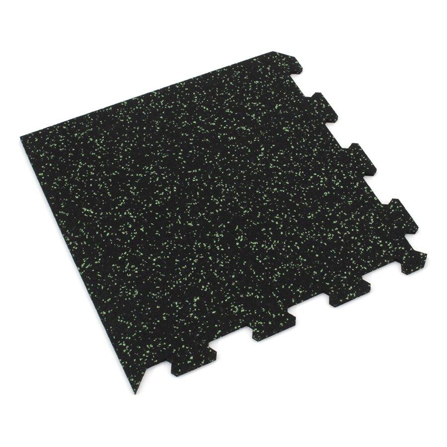 Černo-zelená gumová puzzle modulová dlažba FLOMA SF1050 FitFlo - délka 47,8 cm, šířka 47,8 cm a výška 0,8 cm