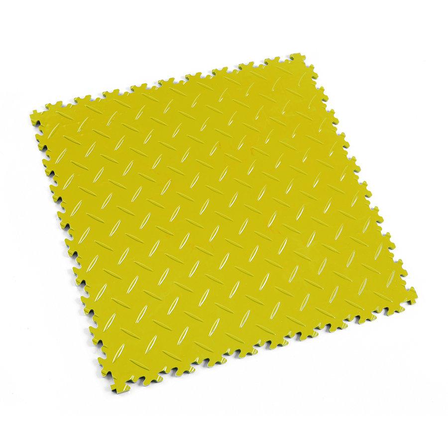 Žlutá vinylová plastová zátěžová dlaždice Industry 2010 (diamant), Fortelock - délka 51 cm, šířka 51 cm a výška 0,7 cm