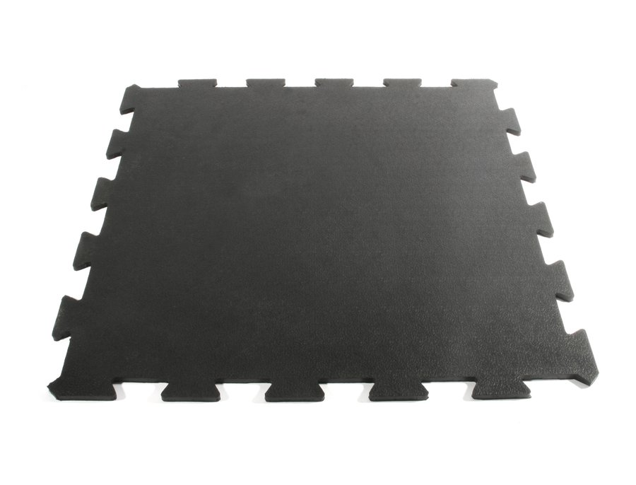 Černá gumová modulární průběžná fitness podlaha Sport Tile - délka 61 cm, šířka 61 cm a výška 1 cm