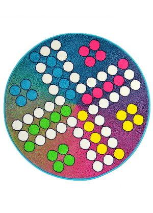 Různobarevný dětský hrací kulatý koberec Play - průměr 100 cm