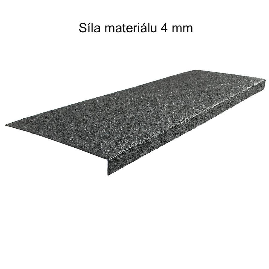 Černý korundový protiskluzový nášlap na schody Hard - délka 25 cm, šířka 100 cm a tloušťka 4 mm