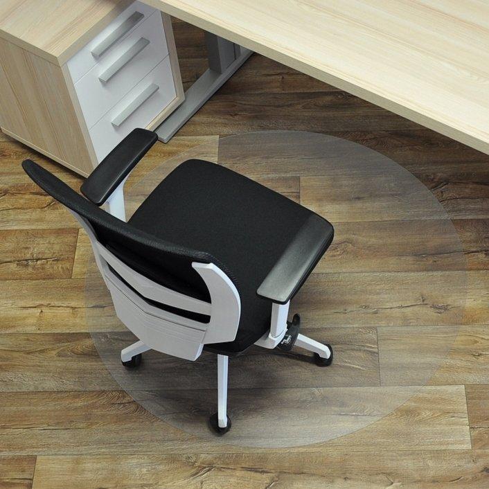 Čirá podložka pod židli na hladké povrchy - délka 90 cm, šířka 90 cm a výška 0,15 cm