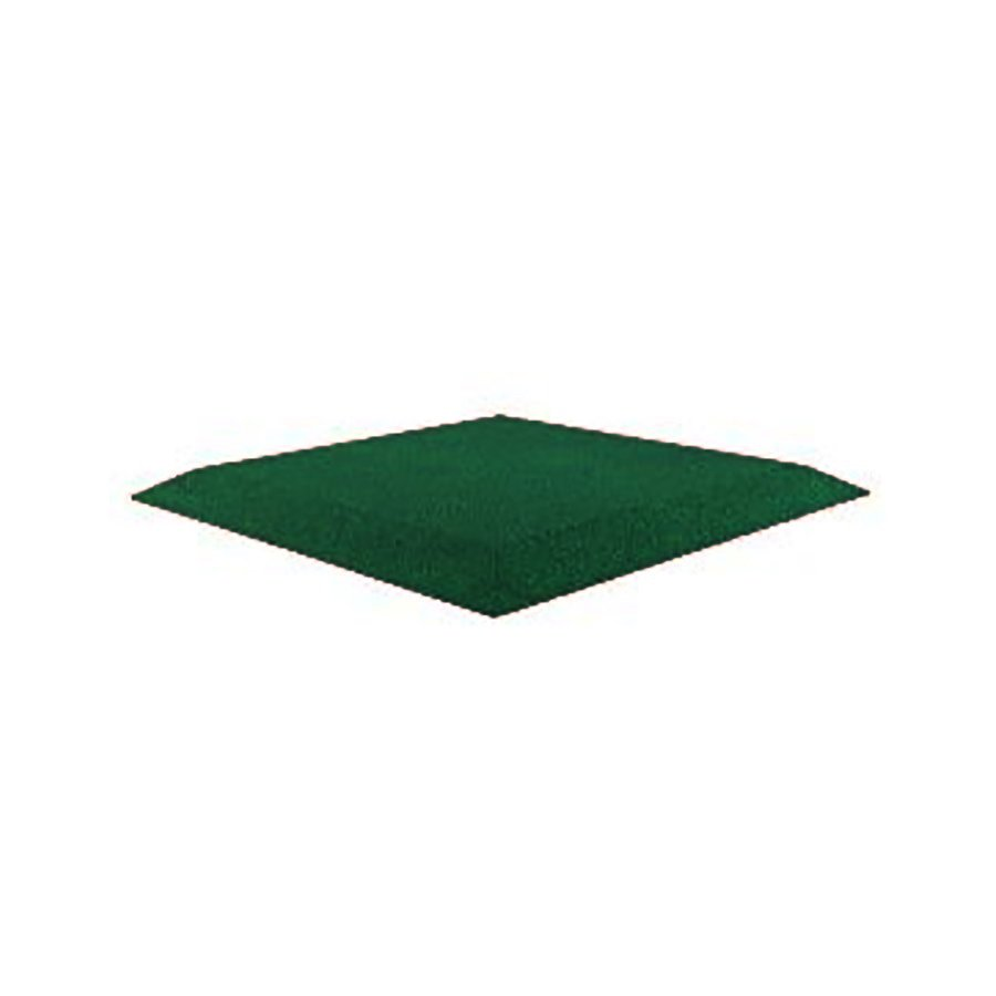 Zelená gumová krajová dopadová dlaždice (roh) (V50/R00) FLOMA - délka 50 cm, šířka 50 cm a výška 5 cm