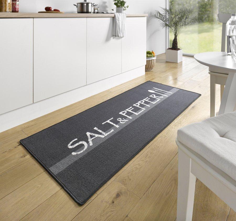 Černá kuchyňská kusová moderní předložka Loop, 03 - délka 180 cm a šířka 67 cm