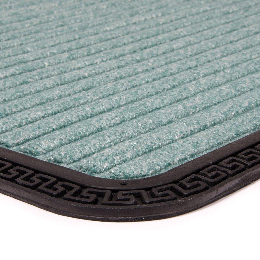 Zelená textilní venkovní čistící vstupní rohož FLOMA Stripes - délka 45 cm, šířka 75 cm a výška 0,8 cm