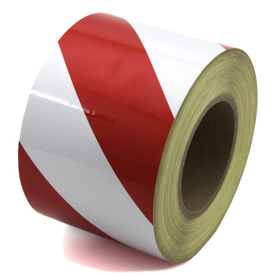 Bílo-červená pravá reflexní výstražná páska - délka 45 m a šířka 10 cm
