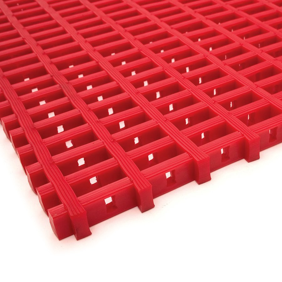Červená olejivzdorná protiskluzová průmyslová univerzální rohož (mřížka 22 x 10 mm) - výška 1,2 cm