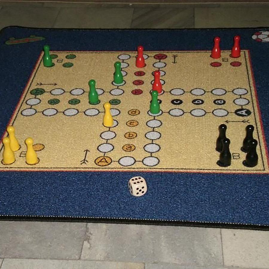 Modrý dětský hrací kusový koberec - délka 90 cm a šířka 90 cm