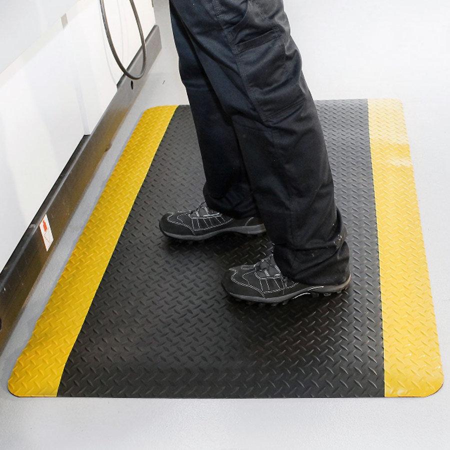 Černo-žlutá protiúnavová průmyslová laminovaná rohož - délka 150 cm, šířka 90 cm a výška 1,4 cm