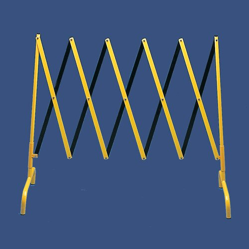 Černo-žlutá ocelová skládací mobilní zábrana - délka 50-285 cm a výška 100 cm