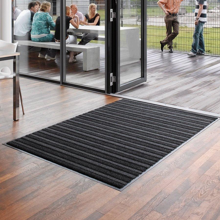 Antracitová textilní vstupní vnitřní čistící rohož Pasáž - délka 200 cm, šířka 135 cm a výška 0,9 cm