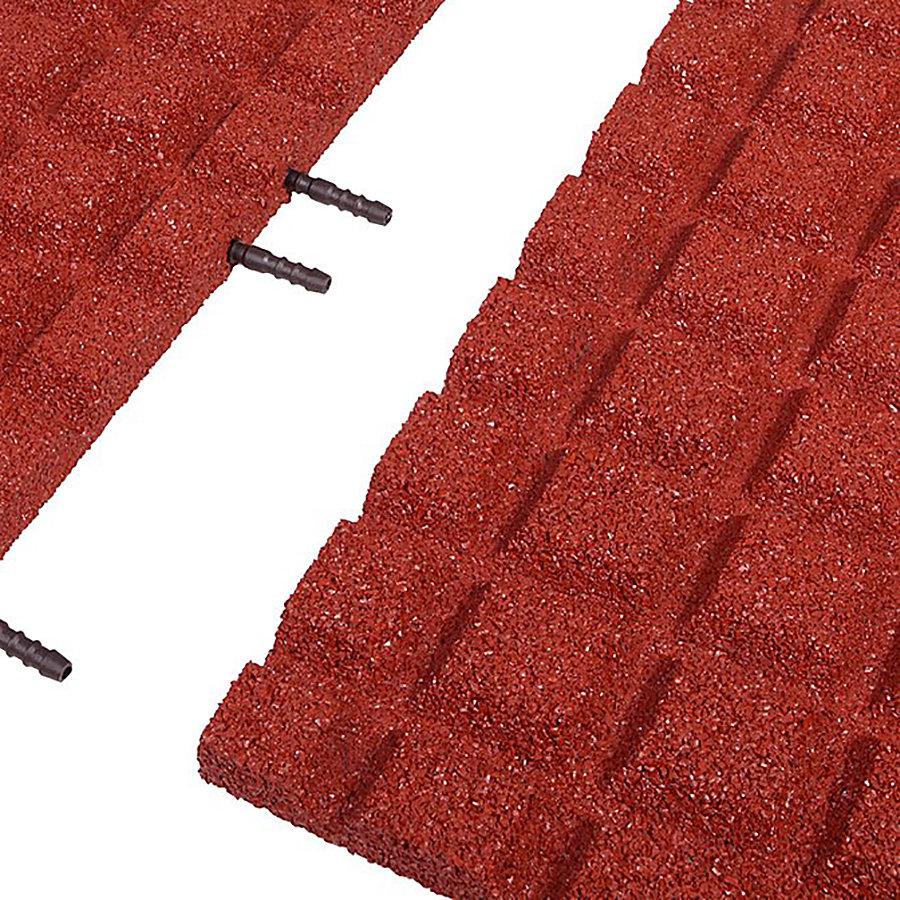 Červená gumová krajová dlaždice (V30/R15) - délka 50 cm, šířka 25 cm a výška 3 cm