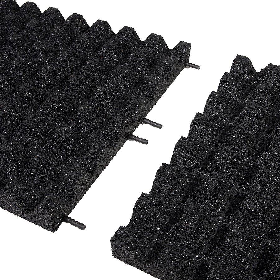 Černá gumová dopadová dlaždice (V50/R28) FLOMA - délka 50 cm, šířka 50 cm a výška 5 cm