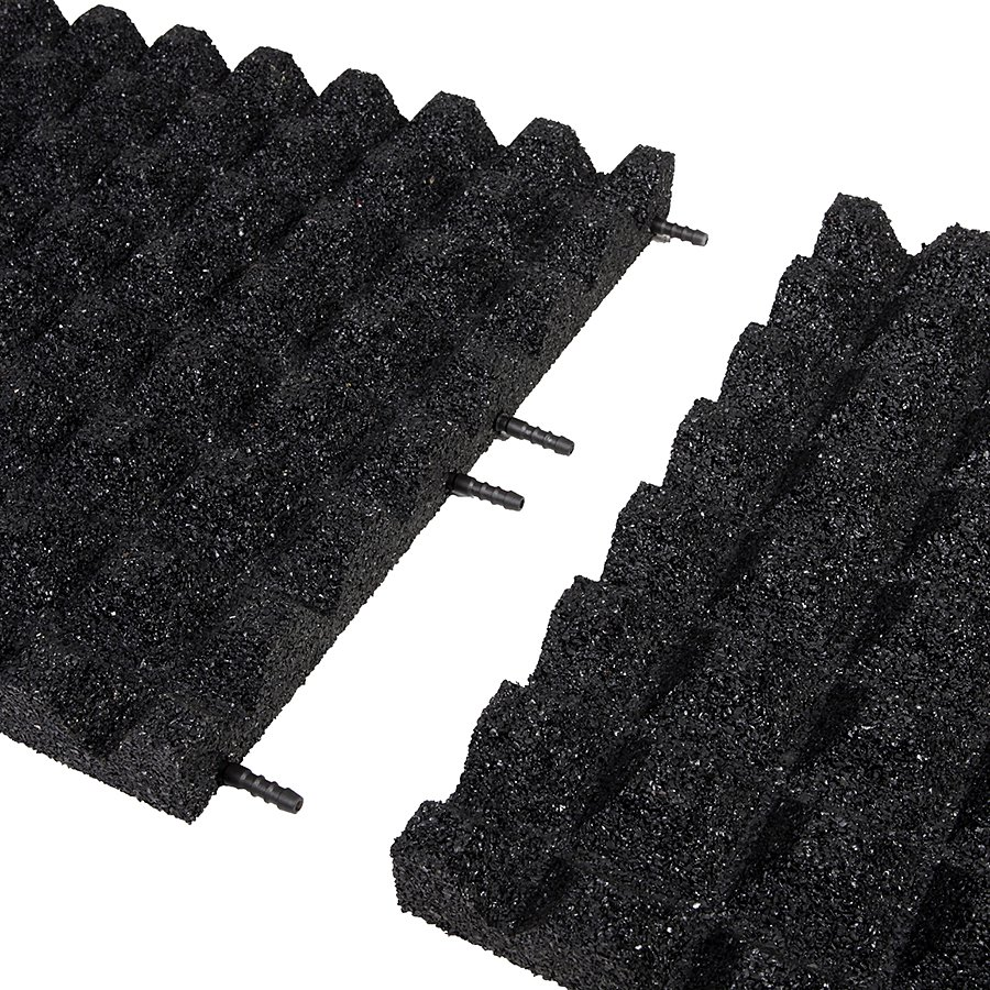 Černá gumová dopadová dlaždice (V50/R28) - délka 100 cm, šířka 100 cm a výška 5 cm