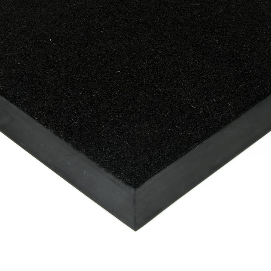 Černá plastová kokosová textilní vstupní vnitřní venkovní čistící zátěžová rohož Synthetic Coco, FLOMAT - délka 70 cm, šířka 100 cm a výška 1 cm