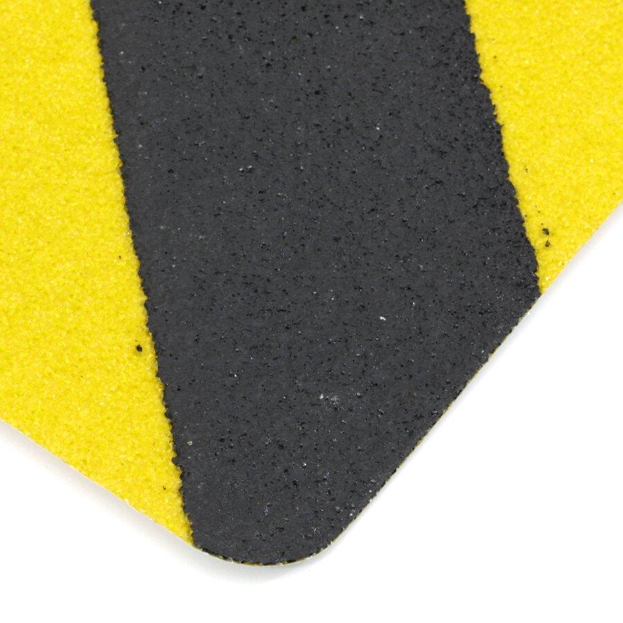 Černo-žlutá korundová protiskluzová páska (dlaždice) FLOMA Super Hazard - délka 14 cm, šířka 14 cm a tloušťka 1 mm