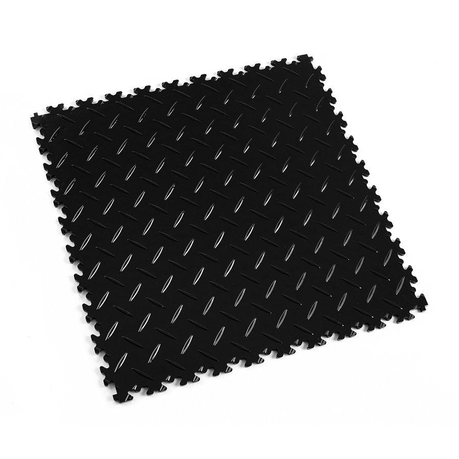 Černá vinylová plastová zátěžová dlaždice Industry 2010 (diamant), Fortelock - délka 51 cm, šířka 51 cm a výška 0,7 cm