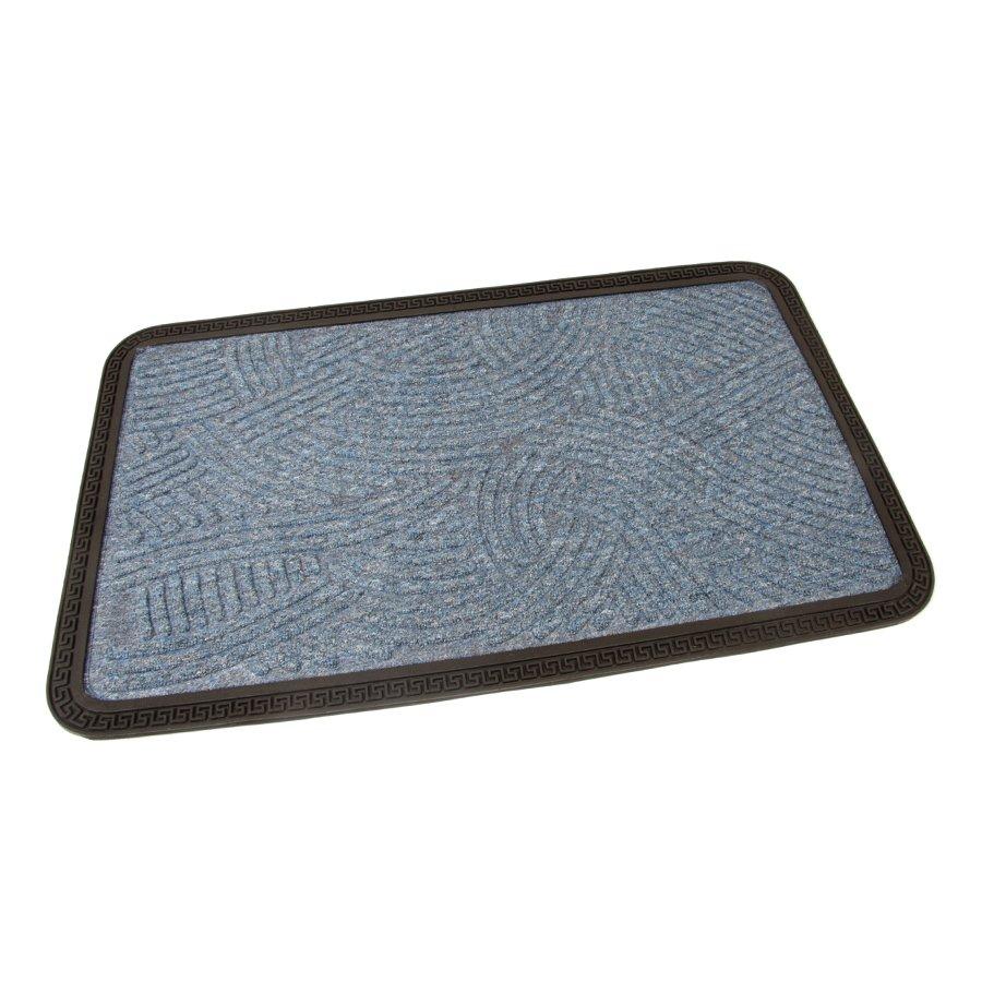 Modrá textilní vstupní venkovní čistící rohož Chaos, FLOMA - délka 45 cm, šířka 75 cm a výška 0,8 cm