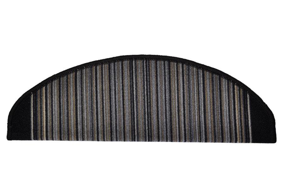 Antracitový kobercový půlkruhový nášlap na schody Carnaby - délka 20 cm a šířka 65 cm