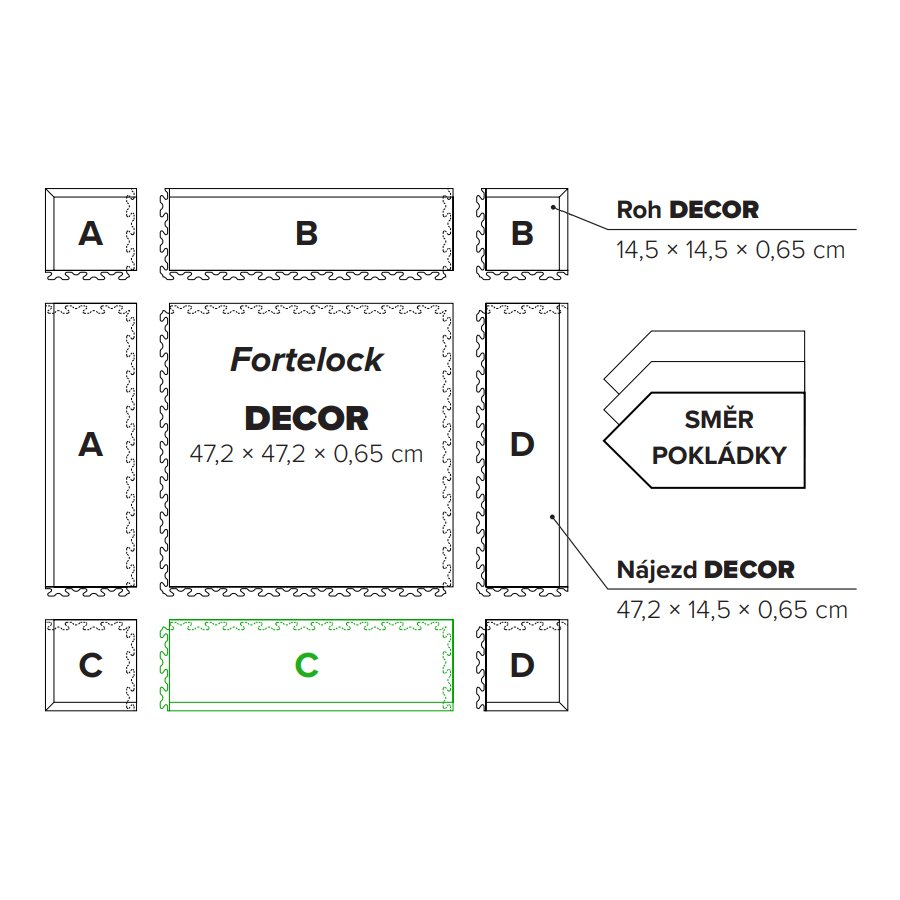 "Béžový PVC vinylový nájezd ""typ C"" Fortelock Decor Business - délka 47,2 cm, šířka 14,5 cm a výška 0,65 cm"