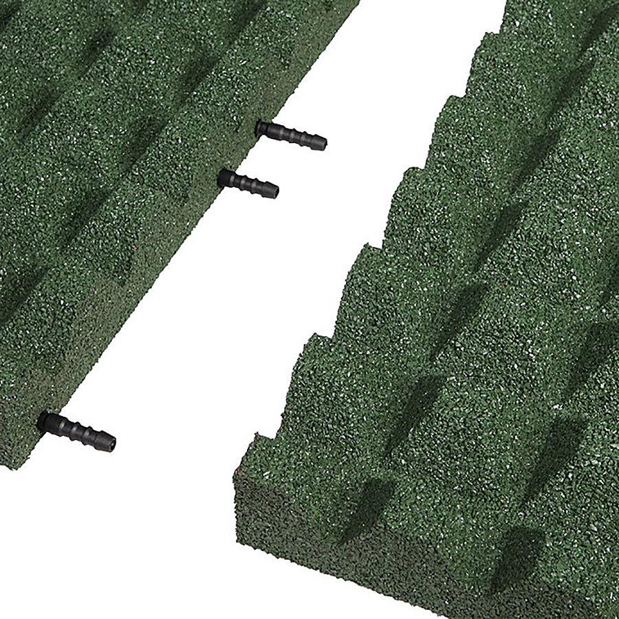 Zelená gumová krajová dopadová dlaždice (V55/R28) FLOMA - délka 50 cm, šířka 25 cm a výška 5,5 cm