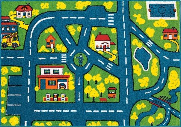 Různobarevný dětský hrací kusový koberec