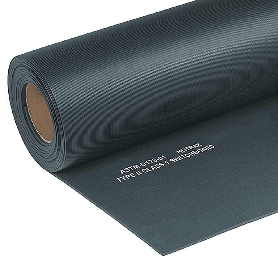 Černá elektroizolační průmyslová metrážová rohož Switchboard, Class 1 - délka 1 cm, šířka 91 cm a výška 0,64 cm