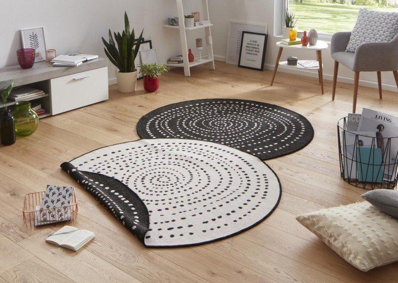 Béžovo-černý kusový moderní oboustranný kulatý koberec Twin-Wendeteppiche - průměr 140 cm