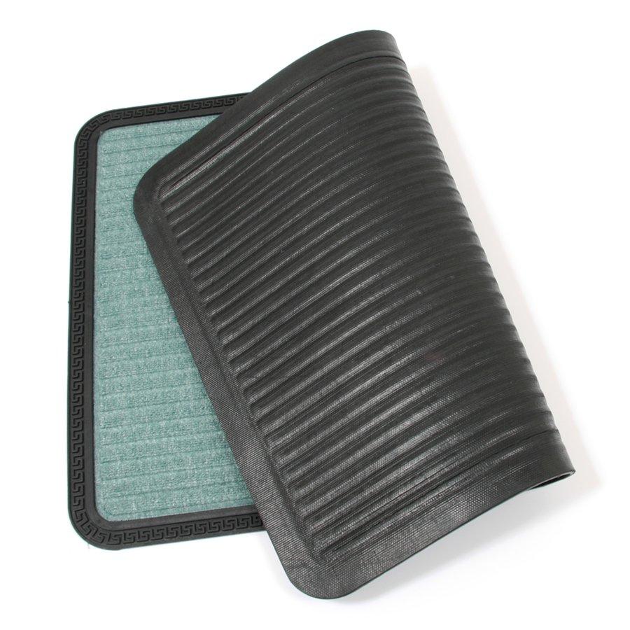 Zelená textilní vstupní venkovní čistící rohož Stripes, FLOMA - délka 60 cm, šířka 90 cm a výška 0,8 cm