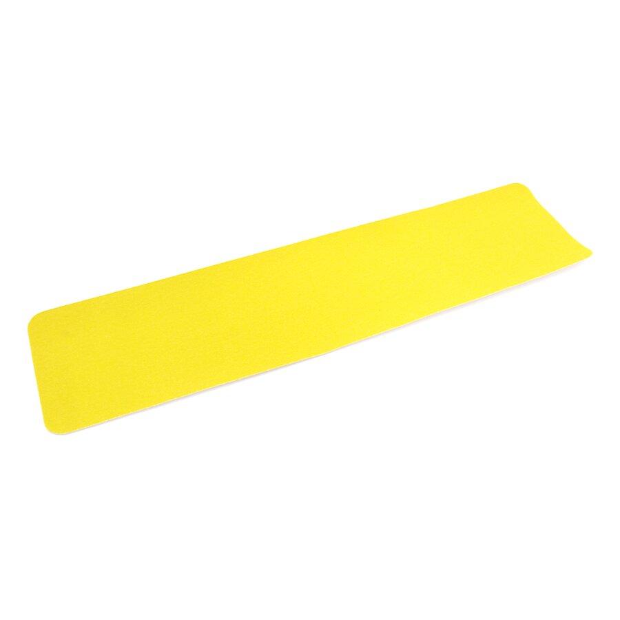 Žlutá korundová protiskluzová podlahová páska - délka 61 cm, šířka 15 cm a tloušťka 0,7 mm