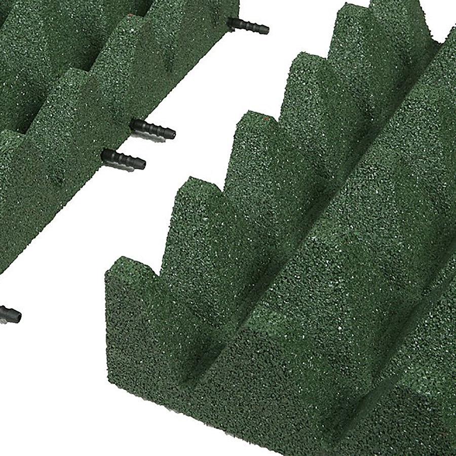 Zelená gumová krajová dopadová dlaždice (V100/R75) FLOMA - délka 50 cm, šířka 25 cm a výška 10 cm