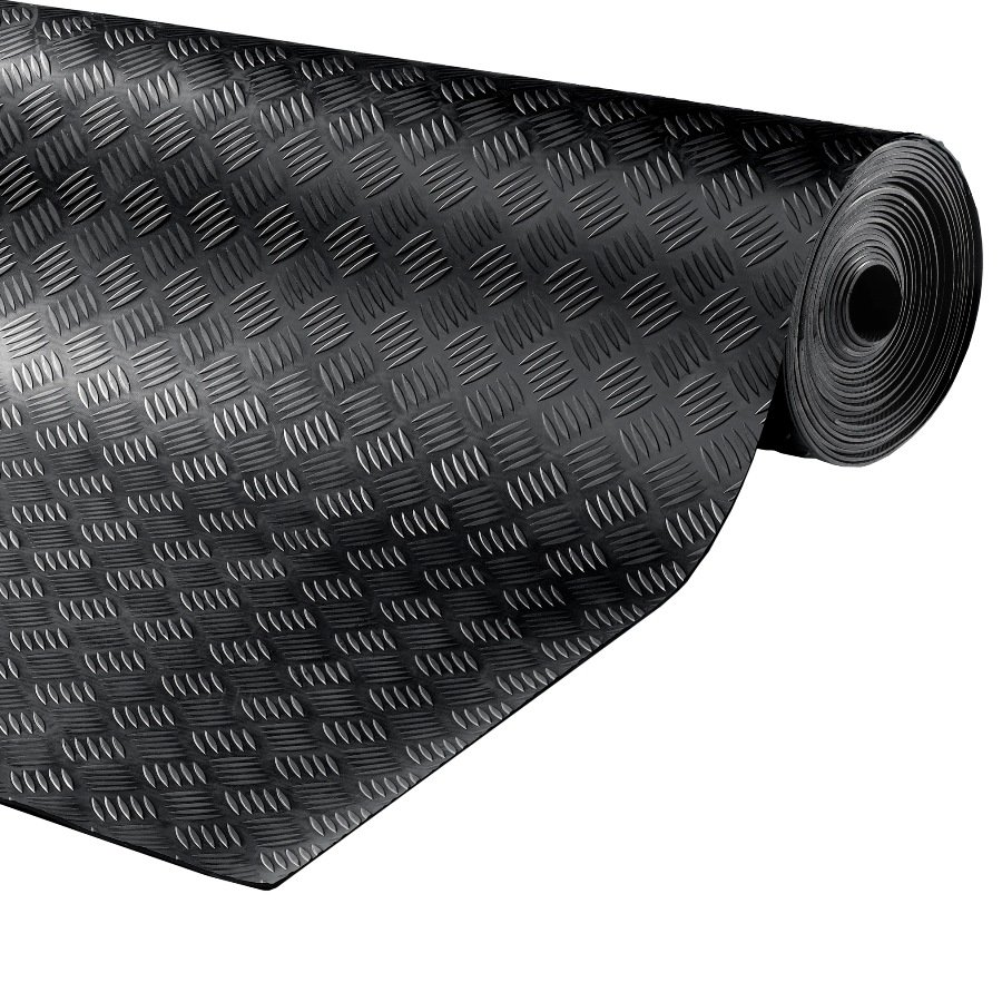 Černá gumová průmyslová protiskluzová rohož Delta - délka 10 m, šířka 150 cm a výška 0,3 cm